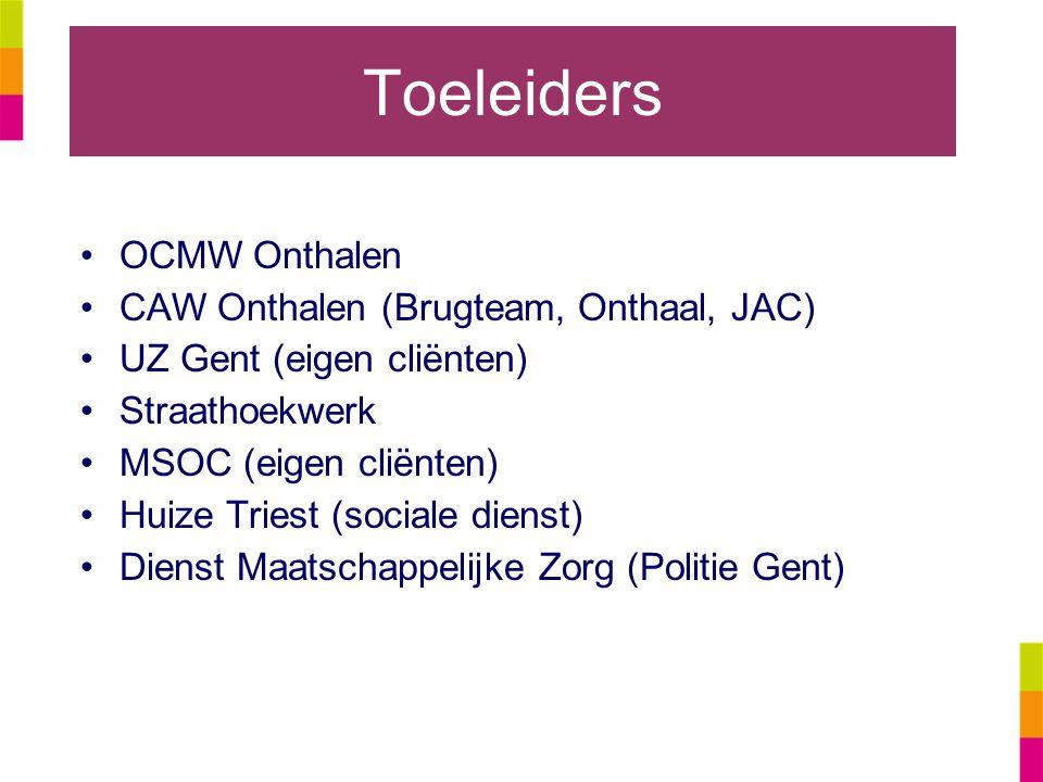 Toeleiders OCMW Onthalen CAW Onthalen (Brugteam, Onthaal, JAC) UZ Gent (eigen cliënten) Straathoekwerk MSOC (eigen cliënten) Huize Triest (sociale dienst) Dienst Maatschappelijke Zorg (Politie Gent)
