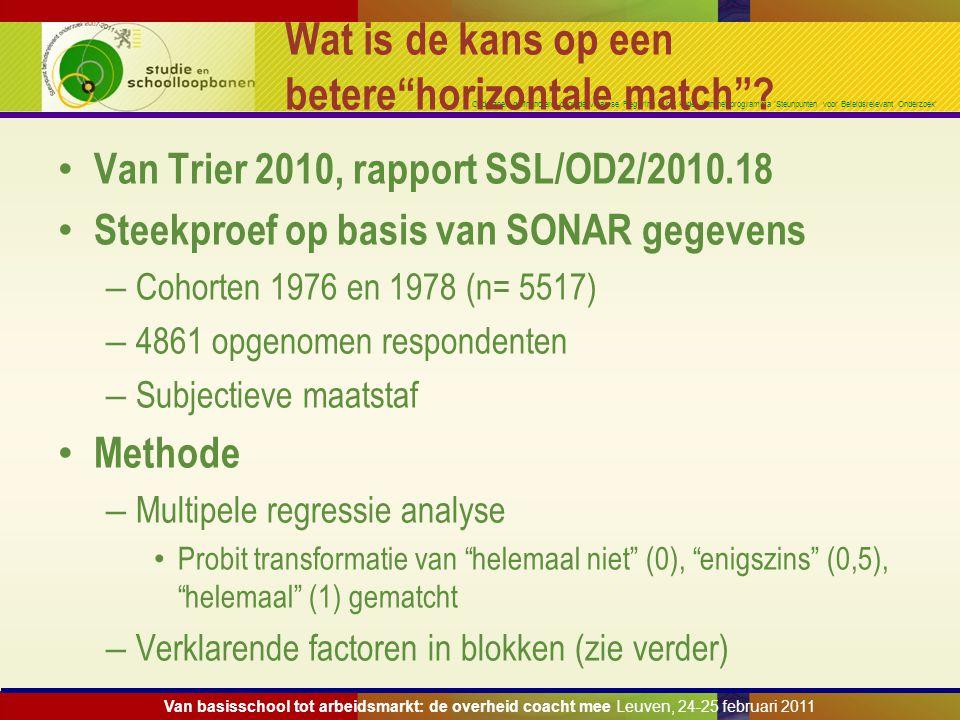 Onderzoek gefinancierd door de Vlaamse Regering in het kader van het programma 'Steunpunten voor Beleidsrelevant Onderzoek' Wat is de kans op een bete
