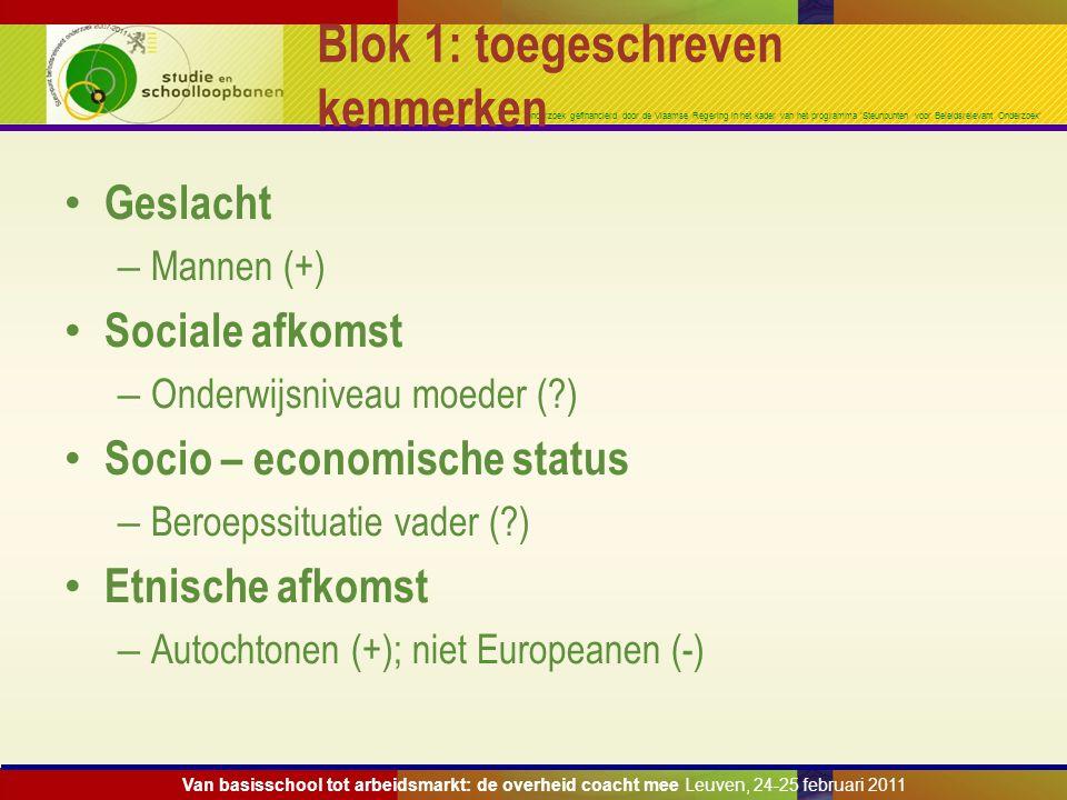 Onderzoek gefinancierd door de Vlaamse Regering in het kader van het programma 'Steunpunten voor Beleidsrelevant Onderzoek' Blok 1: toegeschreven kenm