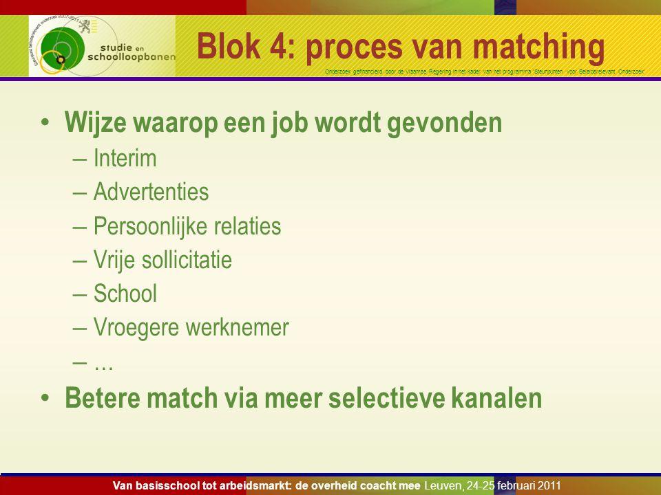 Onderzoek gefinancierd door de Vlaamse Regering in het kader van het programma 'Steunpunten voor Beleidsrelevant Onderzoek' Blok 4: proces van matchin