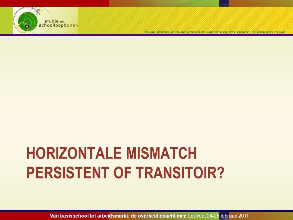 Onderzoek gefinancierd door de Vlaamse Regering in het kader van het programma 'Steunpunten voor Beleidsrelevant Onderzoek' HORIZONTALE MISMATCH PERSISTENT OF TRANSITOIR.