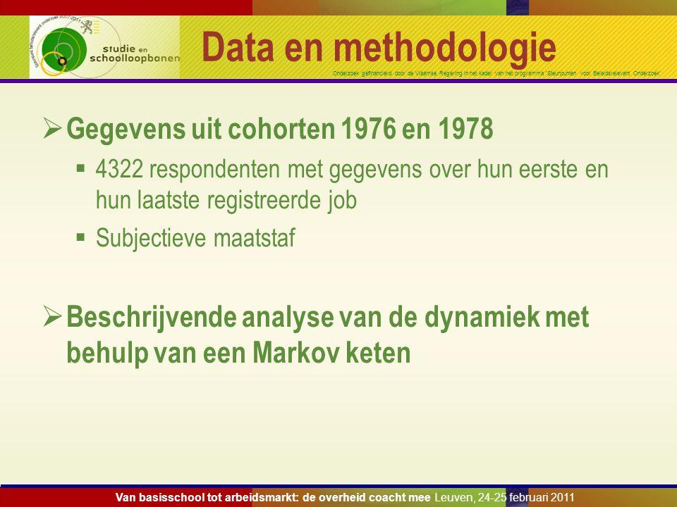 Onderzoek gefinancierd door de Vlaamse Regering in het kader van het programma 'Steunpunten voor Beleidsrelevant Onderzoek' Data en methodologie  Geg