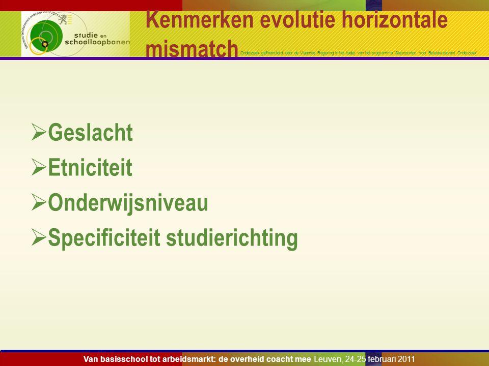 Onderzoek gefinancierd door de Vlaamse Regering in het kader van het programma 'Steunpunten voor Beleidsrelevant Onderzoek' Kenmerken evolutie horizon