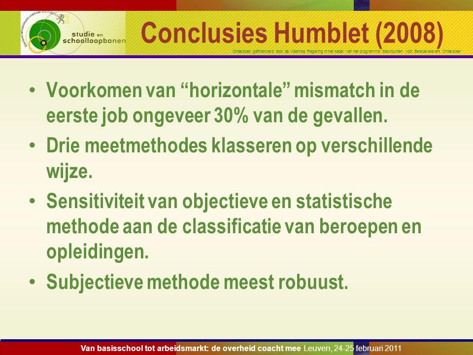 Onderzoek gefinancierd door de Vlaamse Regering in het kader van het programma 'Steunpunten voor Beleidsrelevant Onderzoek' Conclusies Humblet (2008)