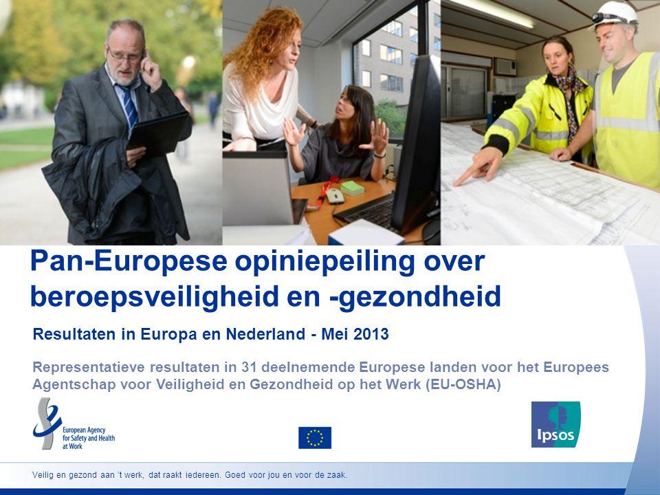 Pan-Europese opiniepeiling over beroepsveiligheid en -gezondheid Resultaten in Europa en Nederland - Mei 2013 Representatieve resultaten in 31 deelnemende Europese landen voor het Europees Agentschap voor Veiligheid en Gezondheid op het Werk (EU-OSHA) Veilig en gezond aan 't werk, dat raakt iedereen.