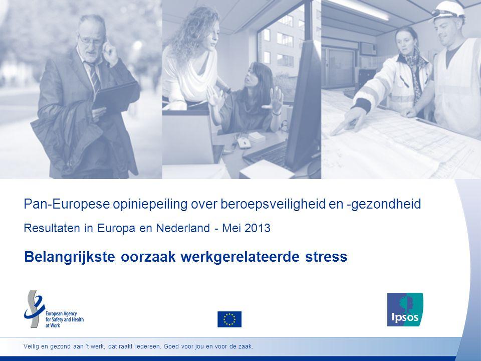 Pan-Europese opiniepeiling over beroepsveiligheid en -gezondheid Resultaten in Europa en Nederland - Mei 2013 Belangrijkste oorzaak werkgerelateerde stress Veilig en gezond aan 't werk, dat raakt iedereen.