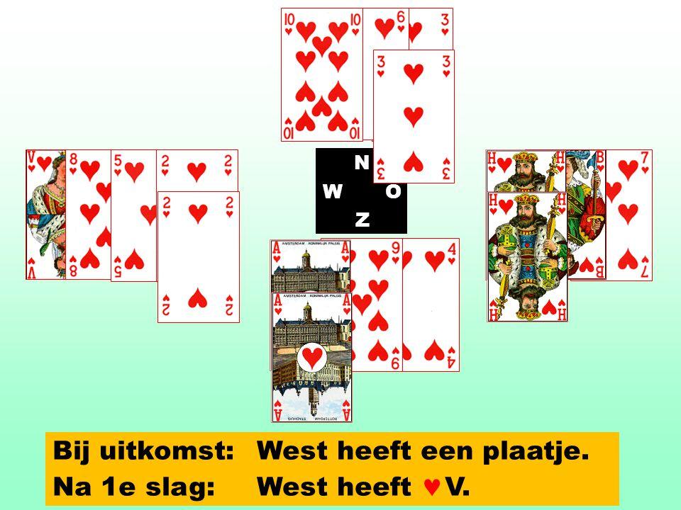 N WO Z Bij uitkomst: West heeft een plaatje. Na 1e slag:West heeft V.