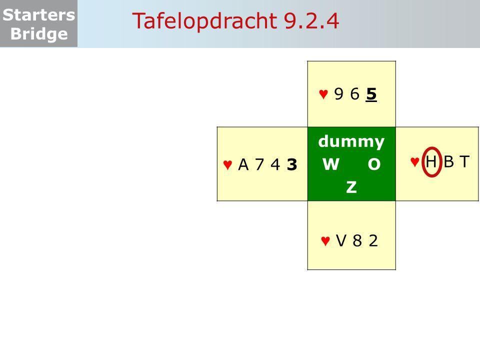Starters Bridge Tafelopdracht 9.2.5 dummy W O Z ♥ H 7 4 ♥ 8 ♥ A V B 2 ♥ T 9 5 ♥ 8 6 3
