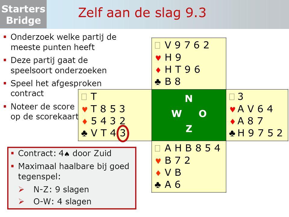Starters Bridge Zelf aan de slag 9.4  Onderzoek welke partij de meeste punten heeft  Deze partij gaat de speelsoort onderzoeken  Speel het afgesproken contract  Noteer de score op de scorekaart   ♣ 9 8 7 V 9 6 3 2 T 8 5 4 A   ♣ A 4 3 A H T H V 7 9 8 4 2 N W O Z   ♣ H V B 8 5 B 9 2 V 7 6 5 3   ♣ T 6 5 2 B 7 4 A 6 3 H B T  Contract: 3SA door West  Maximaal haalbare bij goed tegenspel:  N-Z: 5 slagen  O-W: 8