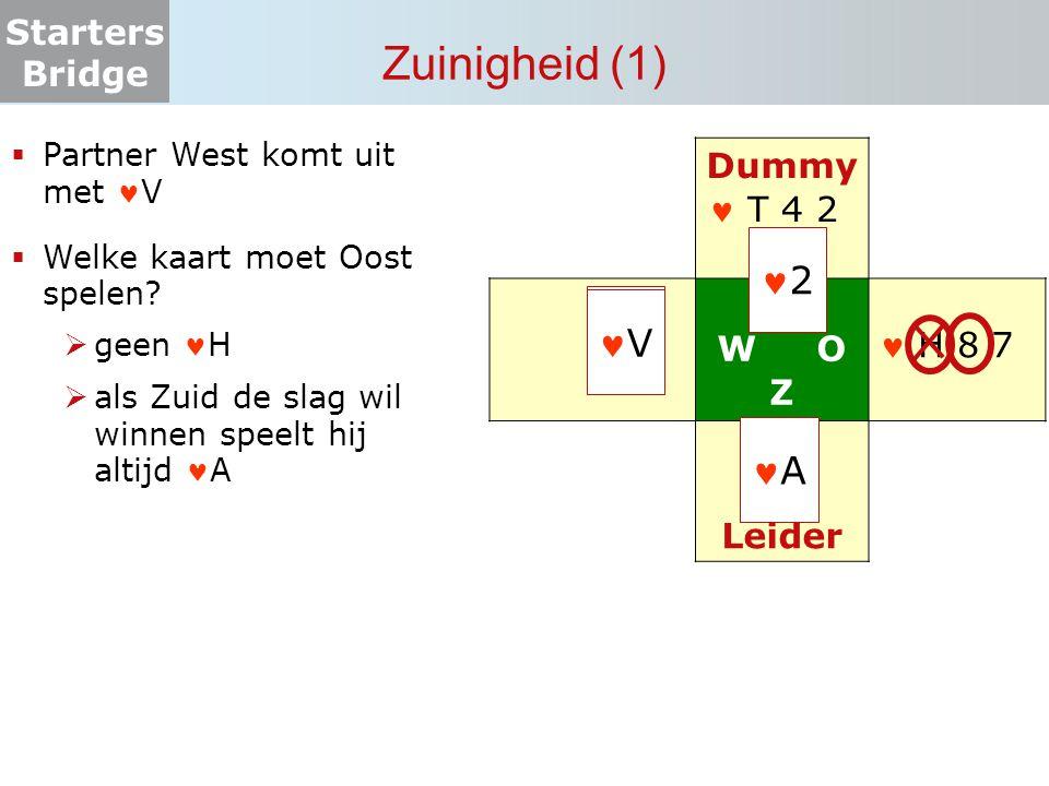 Starters Bridge Zuinigheid (2)  Partner West komt uit met V  Welke kaart moet Oost spelen.