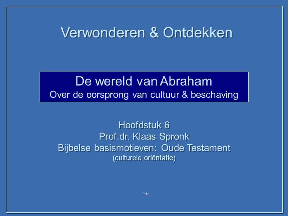 Info De wereld van Abraham Over de oorsprong van cultuur & beschaving Hoofdstuk 6 Prof.dr. Klaas Spronk Bijbelse basismotieven: Oude Testament (cultur