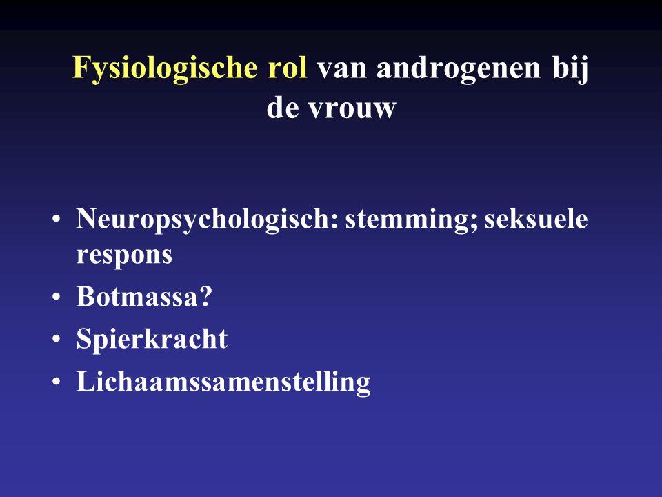 Fysiologische rol van androgenen bij de vrouw Neuropsychologisch: stemming; seksuele respons Botmassa.