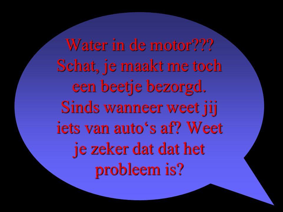 Water in de motor??? Schat, je maakt me toch een beetje bezorgd. Sinds wanneer weet jij iets van auto's af? Weet je zeker dat dat het probleem is?