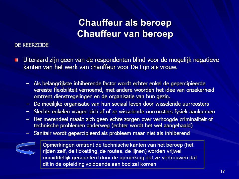 17 DE KEERZIJDE Uiteraard zijn geen van de respondenten blind voor de mogelijk negatieve kanten van het werk van chauffeur voor De Lijn als vrouw.