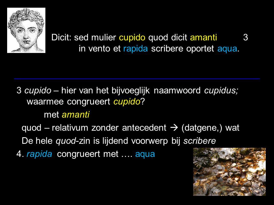 Dicit: sed mulier cupido quod dicit amanti3 in vento et rapida scribere oportet aqua. 3 cupido – hier van het bijvoeglijk naamwoord cupidus; waarmee c