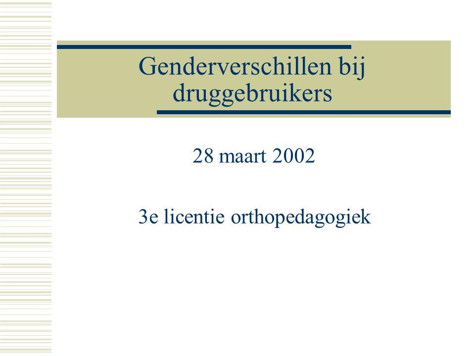Genderverschillen bij druggebruikers  'Geslachtsverschillen en terugvalpreventie in therapeutische gemeenschappen in Vlaanderen' (situering doctoraat)  Genderverschillen en beperkingen van de hulpverlening, in het bijzonder van de therapeutische gemeenschap  Video