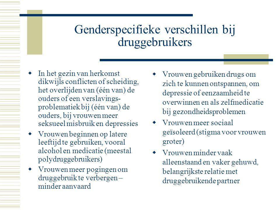 Genderspecifieke verschillen bij druggebruikers  In het gezin van herkomst dikwijls conflicten of scheiding, het overlijden van (één van) de ouders o