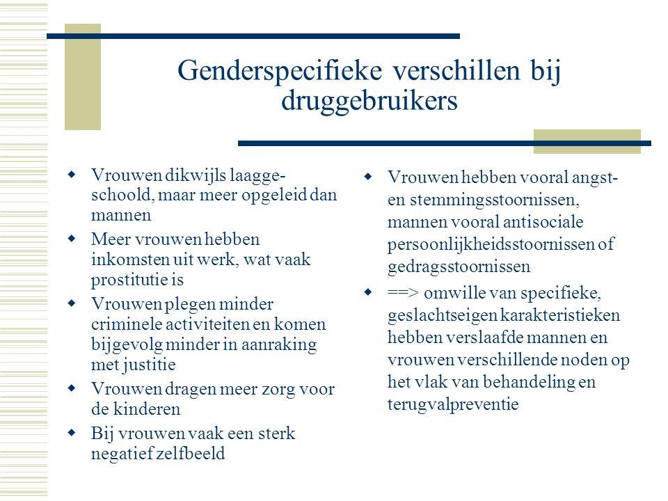 Genderspecifieke verschillen bij druggebruikers  Vrouwen dikwijls laagge- schoold, maar meer opgeleid dan mannen  Meer vrouwen hebben inkomsten uit