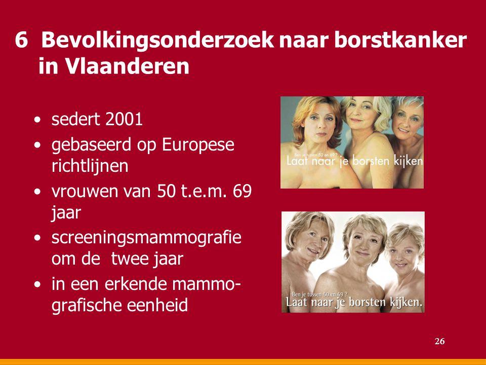 6 Bevolkingsonderzoek naar borstkanker in Vlaanderen sedert 2001 gebaseerd op Europese richtlijnen vrouwen van 50 t.e.m. 69 jaar screeningsmammografie