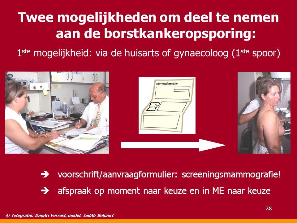 Twee mogelijkheden om deel te nemen aan de borstkankeropsporing: 1 ste mogelijkheid: via de huisarts of gynaecoloog (1 ste spoor) è voorschrift/aanvra