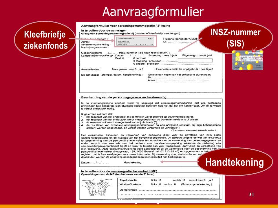 Aanvraagformulier INSZ-nummer (SIS) Kleefbriefje ziekenfonds Handtekening 31Voordracht Permanente vorming