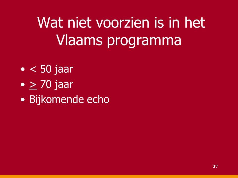 Wat niet voorzien is in het Vlaams programma < 50 jaar > 70 jaar Bijkomende echo 37