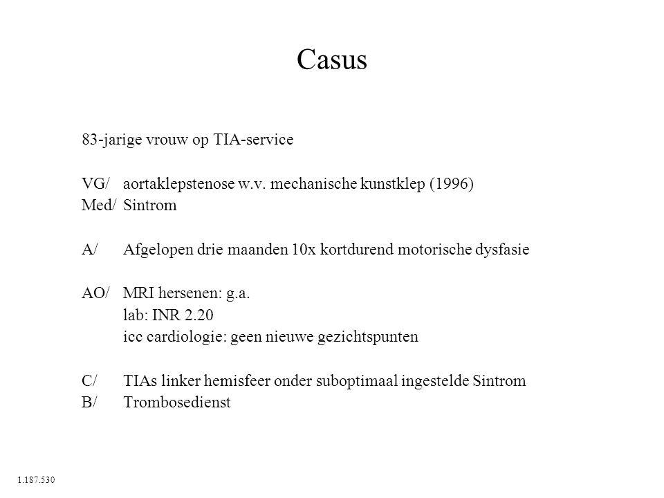 Casus 83-jarige vrouw op TIA-service VG/aortaklepstenose w.v. mechanische kunstklep (1996) Med/Sintrom A/Afgelopen drie maanden 10x kortdurend motoris