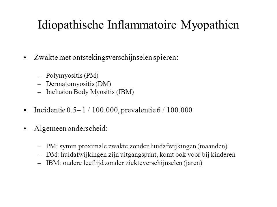 Idiopathische Inflammatoire Myopathien Zwakte met ontstekingsverschijnselen spieren: –Polymyositis (PM) –Dermatomyositis (DM) –Inclusion Body Myositis