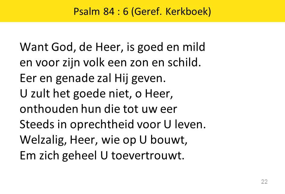 Want God, de Heer, is goed en mild en voor zijn volk een zon en schild. Eer en genade zal Hij geven. U zult het goede niet, o Heer, onthouden hun die