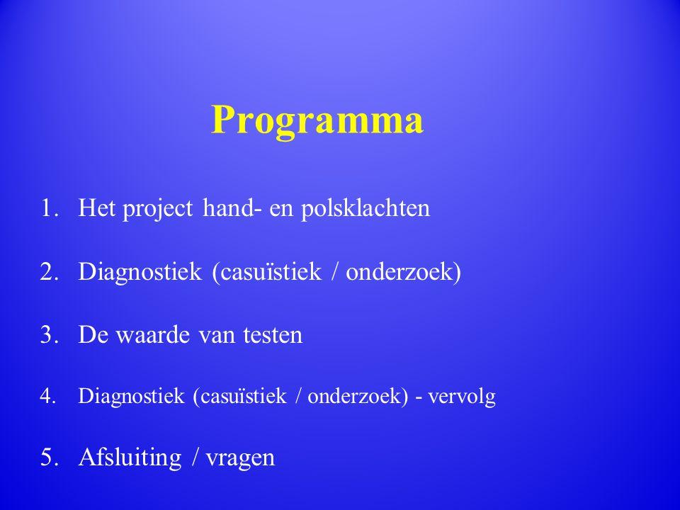 1.Het project hand- en polsklachten 2.Diagnostiek (casuïstiek / onderzoek) 3.De waarde van testen 4.Diagnostiek (casuïstiek / onderzoek) - vervolg 5.A