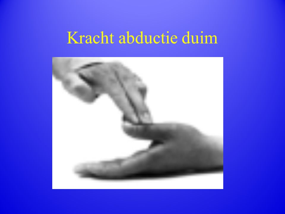 Kracht abductie duim