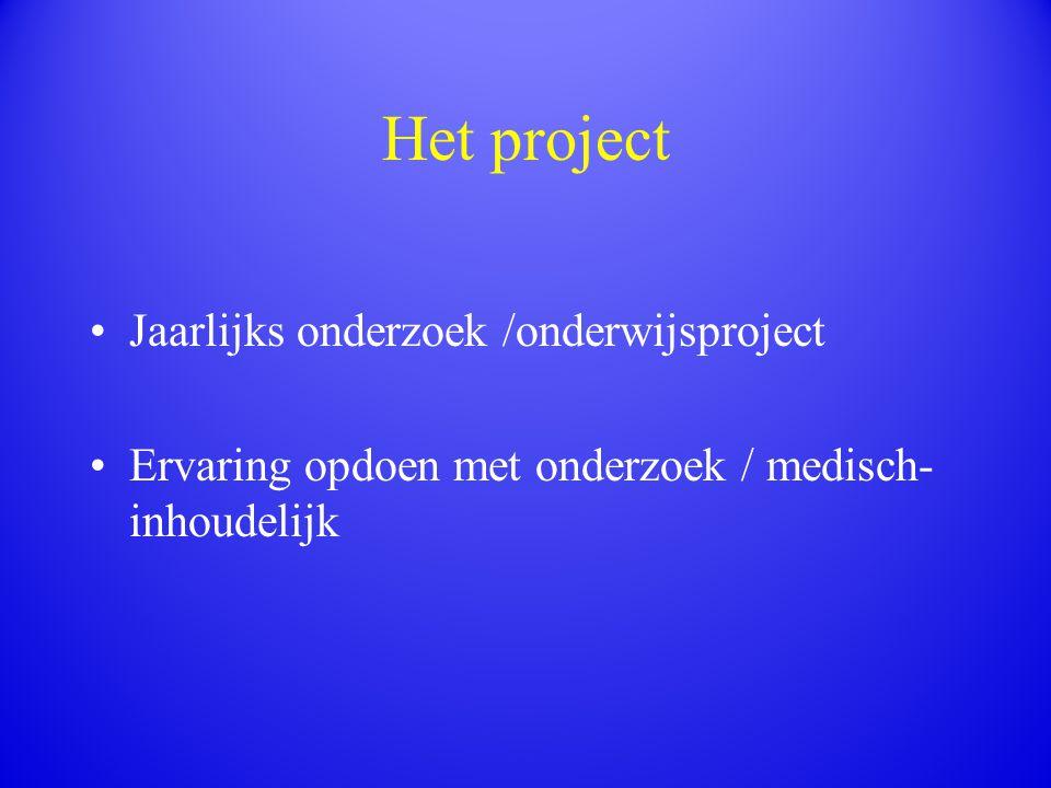 Het project Jaarlijks onderzoek /onderwijsproject Ervaring opdoen met onderzoek / medisch- inhoudelijk