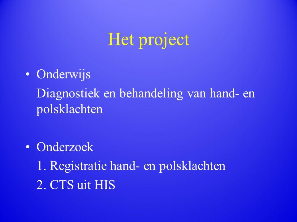 Het project Onderwijs Diagnostiek en behandeling van hand- en polsklachten Onderzoek 1. Registratie hand- en polsklachten 2. CTS uit HIS