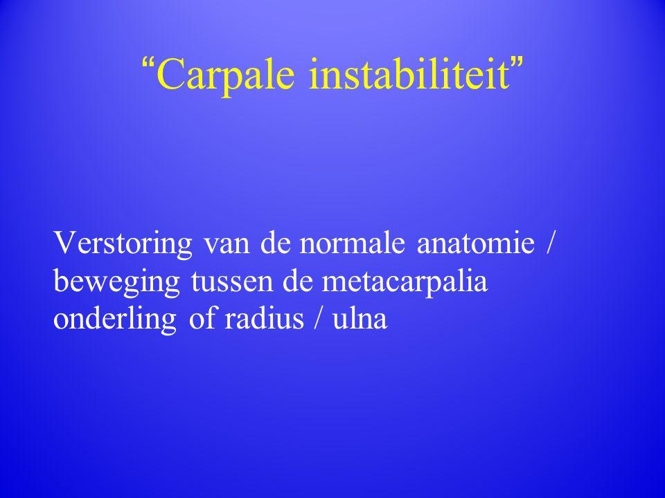""""""" Carpale instabiliteit """" Verstoring van de normale anatomie / beweging tussen de metacarpalia onderling of radius / ulna"""