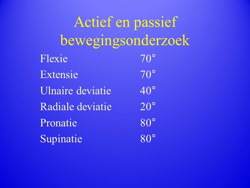 Actief en passief bewegingsonderzoek Flexie70° Extensie70° Ulnaire deviatie40° Radiale deviatie 20° Pronatie80° Supinatie80°