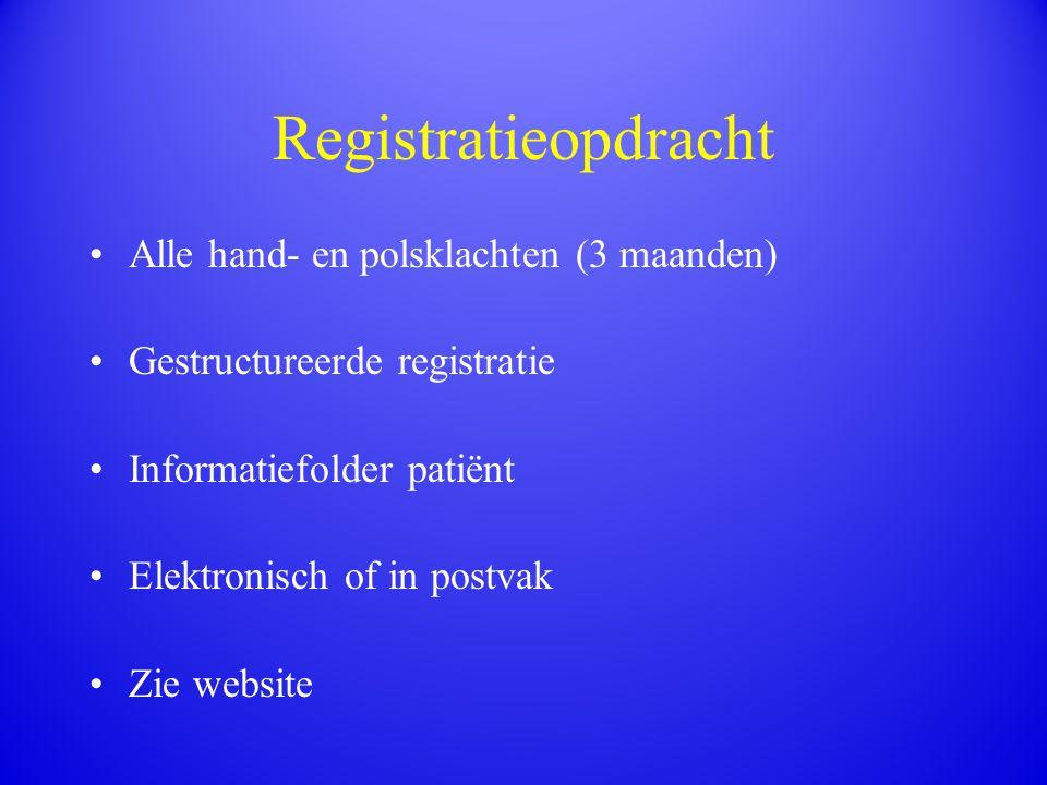 Registratieopdracht Alle hand- en polsklachten (3 maanden) Gestructureerde registratie Informatiefolder patiënt Elektronisch of in postvak Zie website