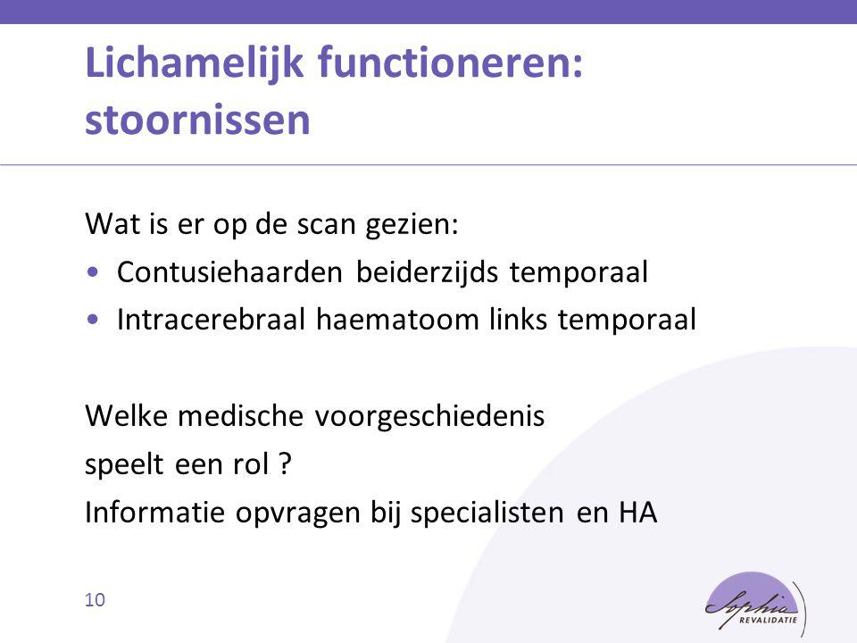 10 Lichamelijk functioneren: stoornissen Wat is er op de scan gezien: Contusiehaarden beiderzijds temporaal Intracerebraal haematoom links temporaal W