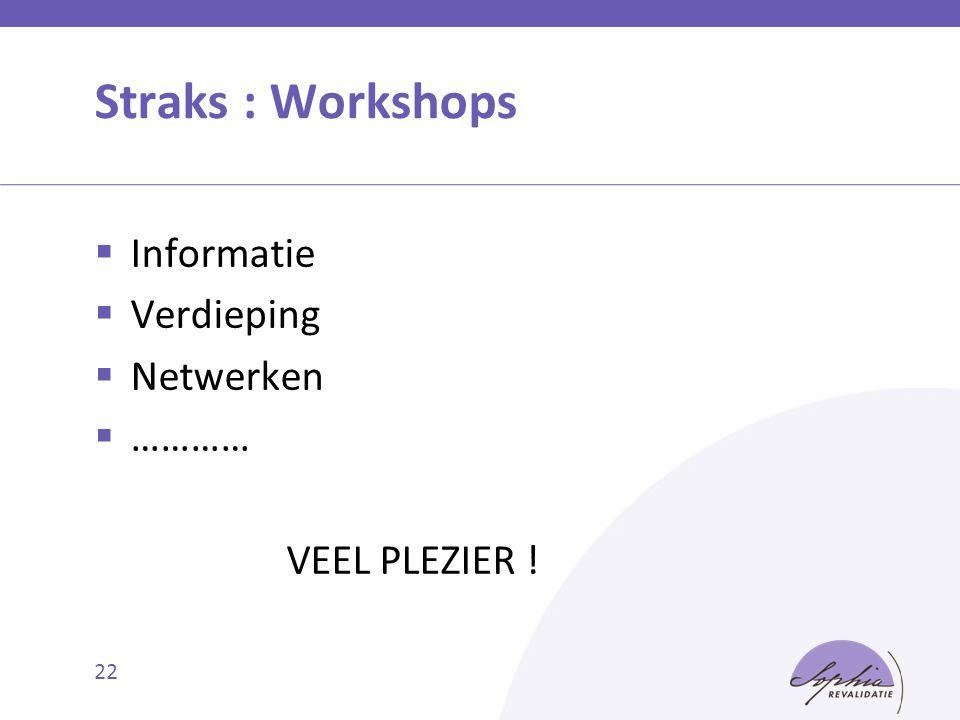 22 Straks : Workshops  Informatie  Verdieping  Netwerken  ………… VEEL PLEZIER !