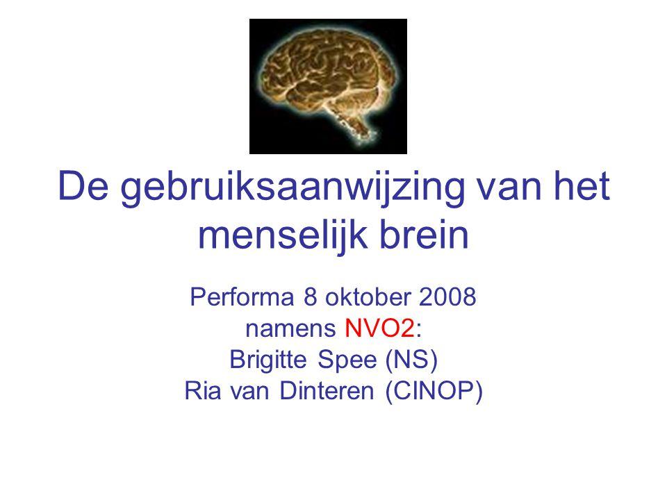 De gebruiksaanwijzing van het menselijk brein Performa 8 oktober 2008 namens NVO2: Brigitte Spee (NS) Ria van Dinteren (CINOP)