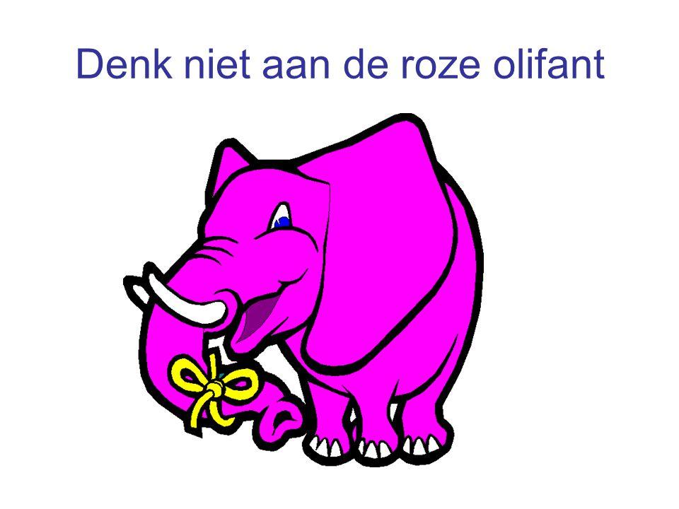 Denk niet aan de roze olifant