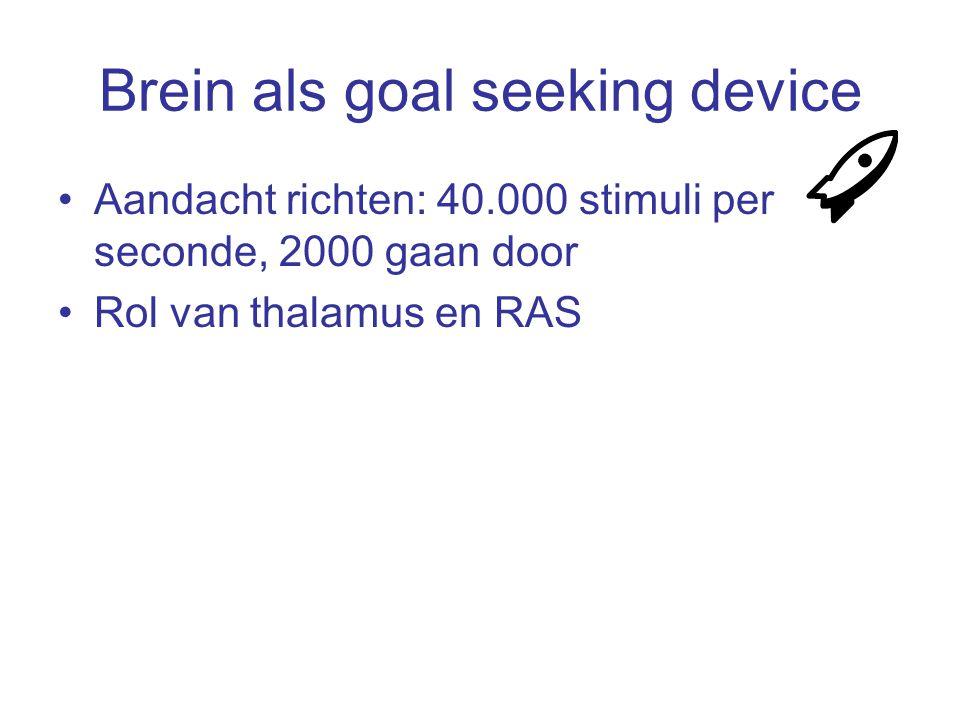 Brein als goal seeking device Aandacht richten: 40.000 stimuli per seconde, 2000 gaan door Rol van thalamus en RAS