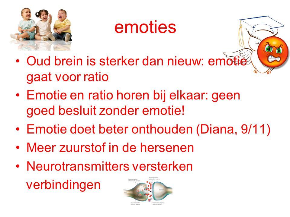 emoties Oud brein is sterker dan nieuw: emotie gaat voor ratio Emotie en ratio horen bij elkaar: geen goed besluit zonder emotie! Emotie doet beter on