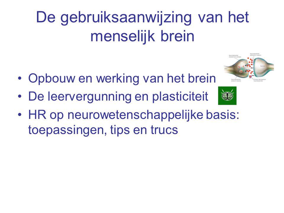 De gebruiksaanwijzing van het menselijk brein Opbouw en werking van het brein De leervergunning en plasticiteit HR op neurowetenschappelijke basis: to