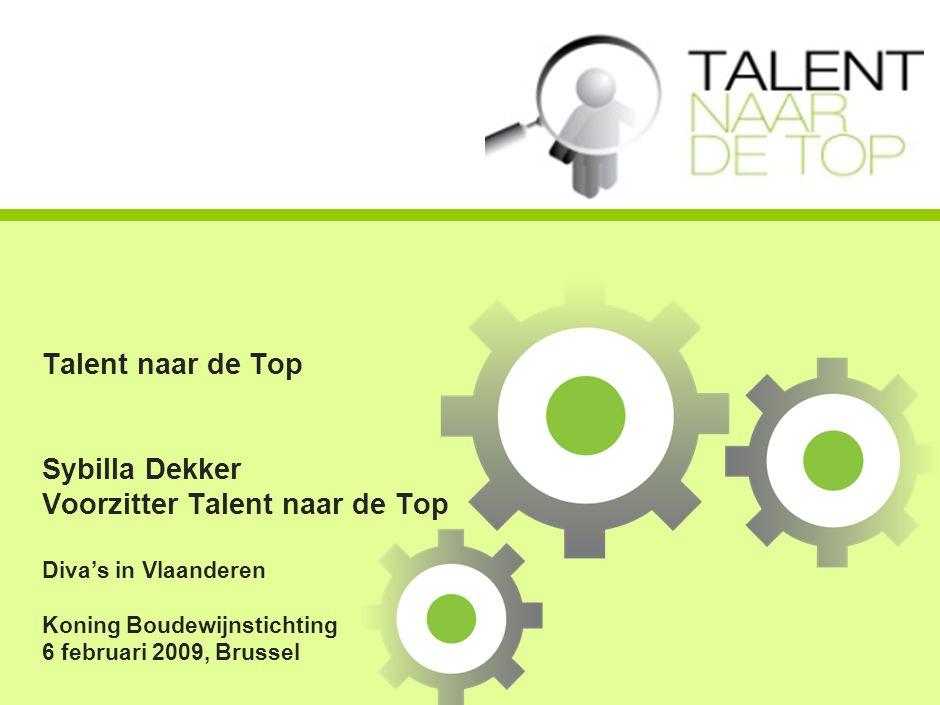 Talent naar de Top Sybilla Dekker Voorzitter Talent naar de Top Diva's in Vlaanderen Koning Boudewijnstichting 6 februari 2009, Brussel