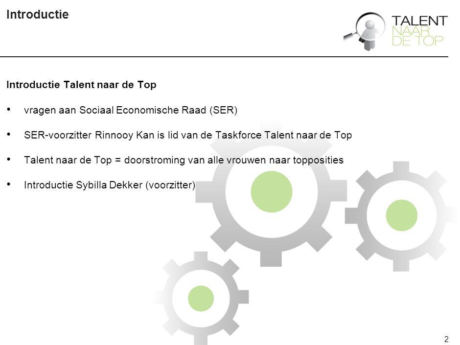 2 Introductie Introductie Talent naar de Top vragen aan Sociaal Economische Raad (SER) SER-voorzitter Rinnooy Kan is lid van de Taskforce Talent naar de Top Talent naar de Top = doorstroming van alle vrouwen naar topposities Introductie Sybilla Dekker (voorzitter)