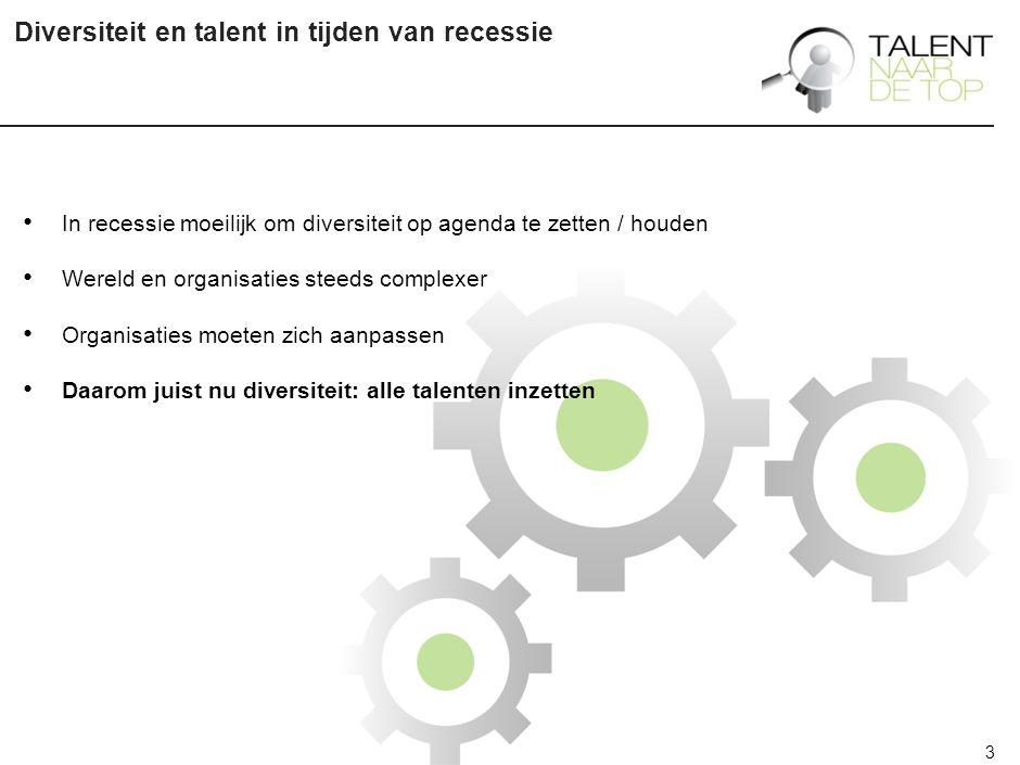 3 Diversiteit en talent in tijden van recessie In recessie moeilijk om diversiteit op agenda te zetten / houden Wereld en organisaties steeds complexer Organisaties moeten zich aanpassen Daarom juist nu diversiteit: alle talenten inzetten