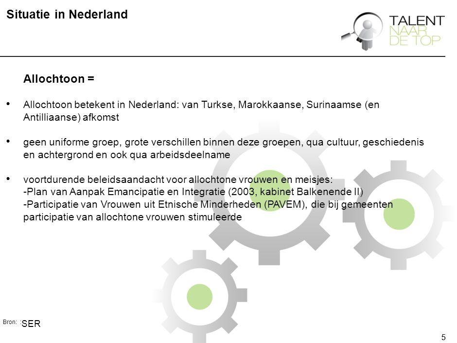 55 Situatie in Nederland Allochtoon = Allochtoon betekent in Nederland: van Turkse, Marokkaanse, Surinaamse (en Antilliaanse) afkomst geen uniforme groep, grote verschillen binnen deze groepen, qua cultuur, geschiedenis en achtergrond en ook qua arbeidsdeelname voortdurende beleidsaandacht voor allochtone vrouwen en meisjes: -Plan van Aanpak Emancipatie en Integratie (2003, kabinet Balkenende II) -Participatie van Vrouwen uit Etnische Minderheden (PAVEM), die bij gemeenten participatie van allochtone vrouwen stimuleerde Bron: : SER
