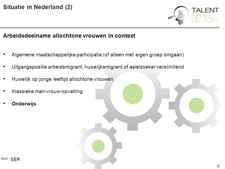 6 Situatie in Nederland (2) Arbeidsdeelname allochtone vrouwen in context Algemene maatschappelijke participatie (of alleen met eigen groep omgaan) Uitgangspositie arbeidsmigrant, huwelijksmigrant of asielzoeker verschillend Huwelijk op jonge leeftijd allochtone vrouwen Klassieke man-vrouw-opvatting Onderwijs Bron: : SER
