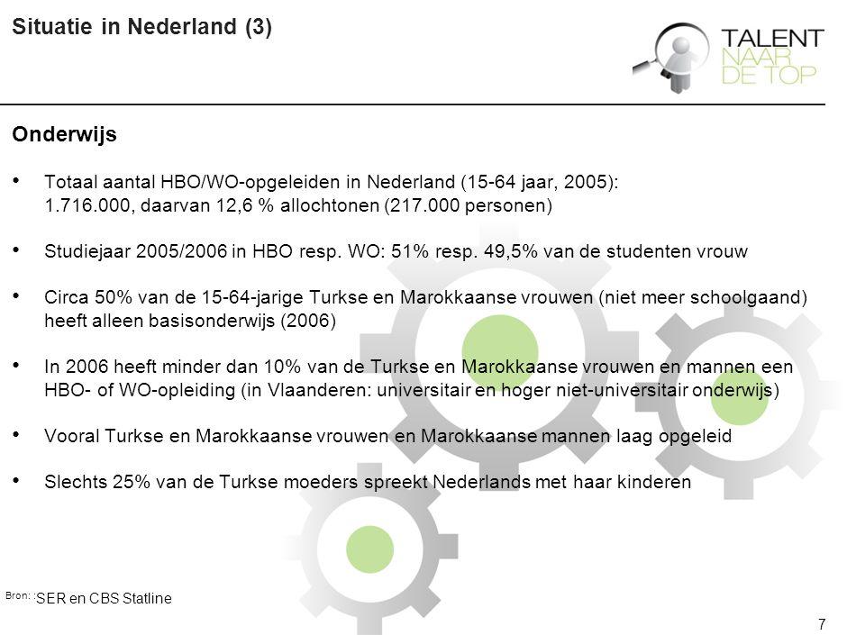 7 Situatie in Nederland (3) Onderwijs Totaal aantal HBO/WO-opgeleiden in Nederland (15-64 jaar, 2005): 1.716.000, daarvan 12,6 % allochtonen (217.000 personen) Studiejaar 2005/2006 in HBO resp.