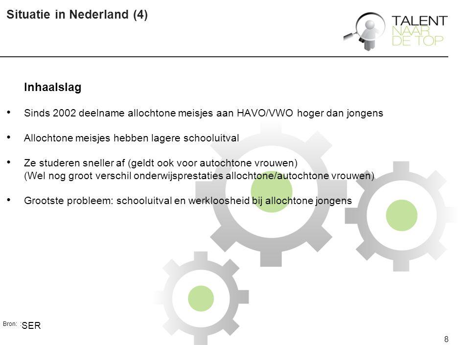 8 Situatie in Nederland (4) Inhaalslag Sinds 2002 deelname allochtone meisjes aan HAVO/VWO hoger dan jongens Allochtone meisjes hebben lagere schooluitval Ze studeren sneller af (geldt ook voor autochtone vrouwen) (Wel nog groot verschil onderwijsprestaties allochtone/autochtone vrouwen) Grootste probleem: schooluitval en werkloosheid bij allochtone jongens Bron: : SER